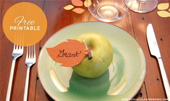 Apple place card place setting