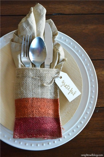 Painted burlap place-setting